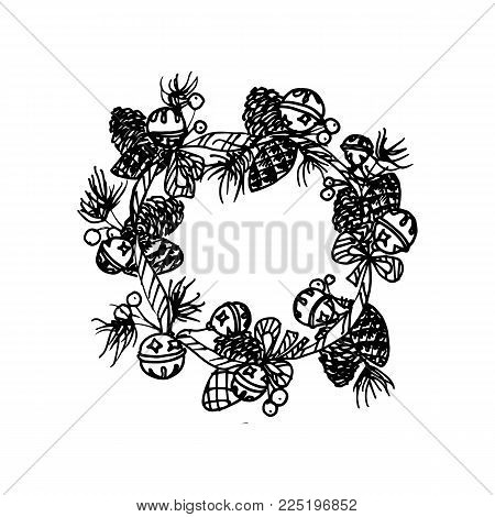 Black Mono Color Illustration for Merry Christmas and Happy New Year Print Design. Wreath with New Year Elements. Coloring Book Page Design for Adults or Kids