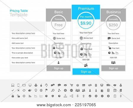 Pricing Table With 3 Plans And One Recommended. Light Grey And Light Blue Colour Scheme.