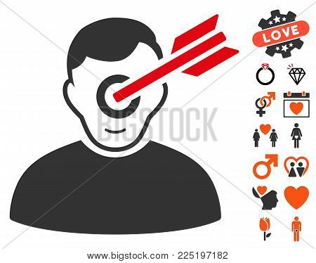 Target Man pictograph with bonus passion design elements. Vector illustration style is flat iconic symbols.