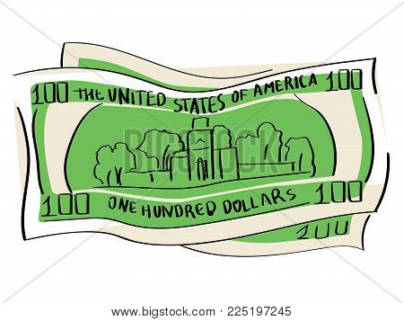 A hundred dollars object on a white background. Business and finance. Paper currency vector illustration. Independence Hall is the building where both the United States Declaration