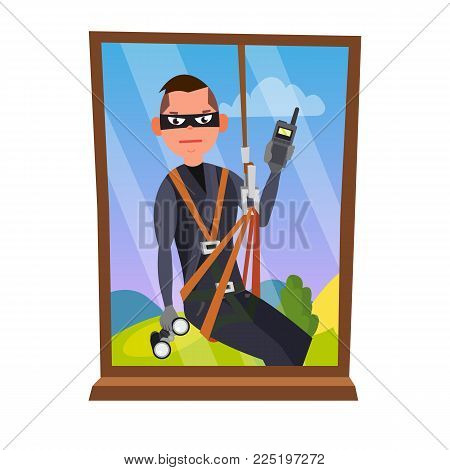 Thief And Window Vector. Breaking Into House Through Window. Insurance Concept. Burglar, Robber In Mask, Thief, Robbery, Purse. Isolated Cartoon Illustration