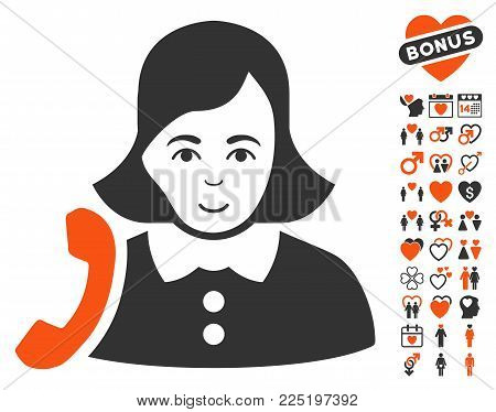 Receptionist Woman pictograph with bonus decorative pictures. Vector illustration style is flat iconic symbols.
