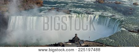 Panoramic view of Niagara Falls, Horseshoe Fall, Canada.
