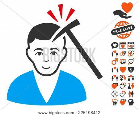 Murder With Hammer pictograph with bonus dating pictures. Vector illustration style is flat iconic symbols.