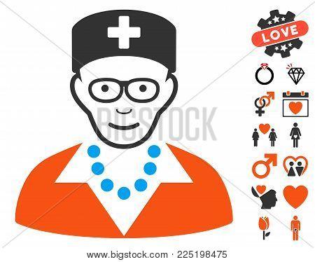 Old Nurse pictograph with bonus romantic symbols. Vector illustration style is flat iconic symbols.