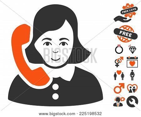 Receptionist pictograph with bonus decorative pictures. Vector illustration style is flat iconic symbols.