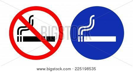 No Smoking Sign And Smoking Area. Vector Illustration.
