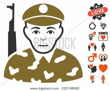 Soldier pictograph with bonus romantic symbols. Vector illustration style is flat iconic symbols.