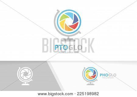 Vector camera shutter and globe logo combination. Lens planet symbol or icon. Unique photo logotype design template.