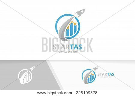 Vector graph and rocket logo combination. Diagram and airplane symbol or icon. Unique chart and flight logotype design template.