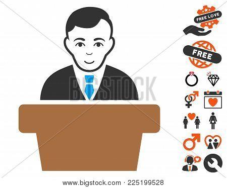 Politician icon with bonus romantic symbols. Vector illustration style is flat iconic symbols.