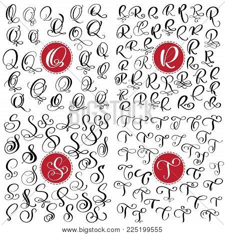 Set Of Hand Drawn Vector Calligraphy Letter Q R S T Script