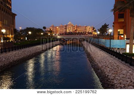 THE PEARL, QATAR - FEBRUARY 3, 2018:  A view from the Porto Arabia section of the massive The Pearl residential development in West Bay, Doha, Qatar
