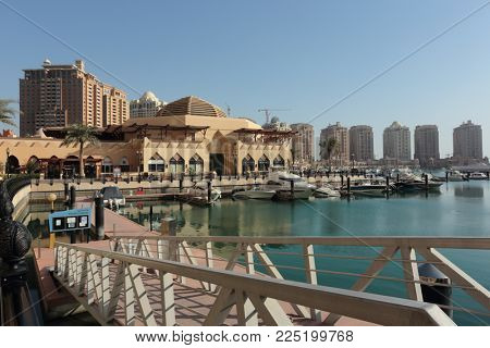 THE PEARL, QATAR - FEBRUARY 3, 2018:  A view of the Porto Arabia section of the massive The Pearl residential development in West Bay, Doha, Qatar