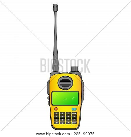 Walkie talkie. Radio station. Portable receiving transceiver. object on a white background vector