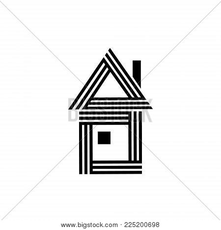 Simple black and white striped house with a window and a chimney real estate logo, vector illustration