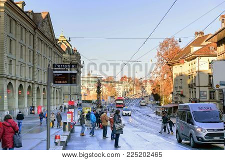Bern, Switzerland-Jan 3, 2017: The atmosphere of tourism and transport of Bern in Switzerland during the winter.