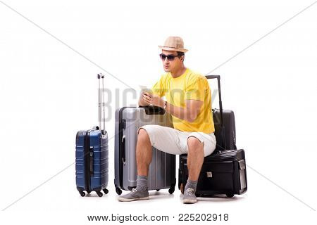 Happy young man going on summer vacation isolated on white