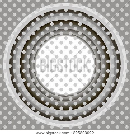 Vector infinite round tunnel of shining flares. Glowing points form tunnel sectors. Abstract cyber background for your designs. Elegant modern geometric wallpaper. Shades of gray