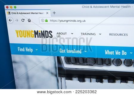 London, Uk - January 4th 2018: The Homepage Of The Official Website For Young Minds - The Leading Ch