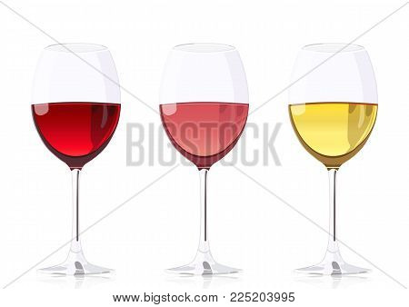 Set glass goblets for wine, vector realistic drawing. Wineglass with red wine, wineglass with rose wine and wineglass with white wine, isolated on white