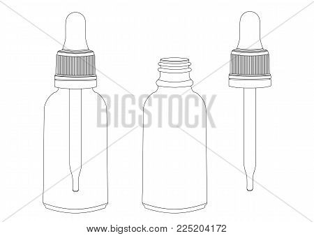 Bottle with a pipette, vector outline drawing, contour picture, coloring, black and white illustration. Transparent empty vial with pipette inside and pipette separately. Isolated on white