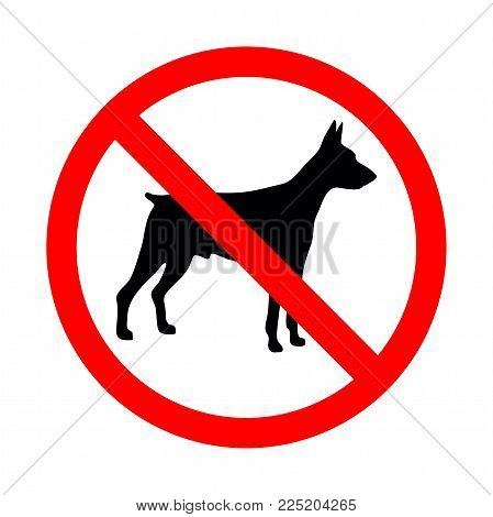 No Animal Sign. Prohibited Sign For No Dogs. Vector Illustration