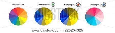 vector illustration, infographics, color wheel, palette, normal vision, deuteranopia daltonism color blindness tritanopia protanopia