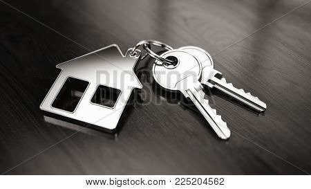 Key to a new home concept - House keys with trinket house on wooden background. 3d rendering