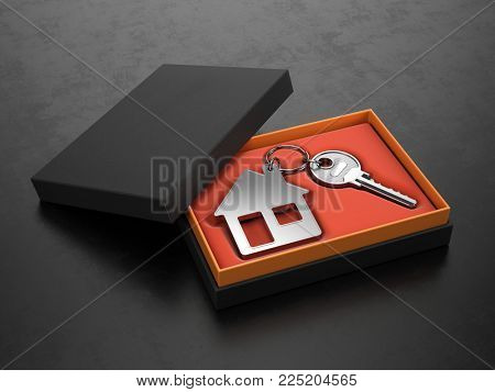 Key to a new home concept - House key with trinket house in black box. 3d rendering