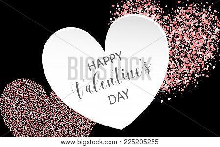 Valentines Day colored confetti paper heart background. Random falling origami. Greeting invitation frame. Vector Valentine design illustration. Festive love party element. Carnival decor template.