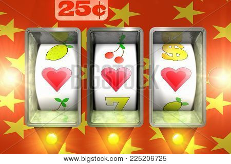 3D render of a close up of  a slot machine with hearts shapes in the wining line