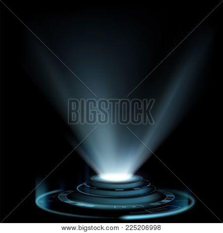 Design Of Hud Interface With Light Projector. Futuristic Portal For Teleportation. Stock Vector Illu