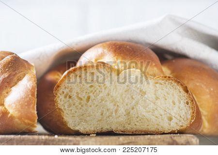 Homemade challah bread, selective focus. Traditional bread.