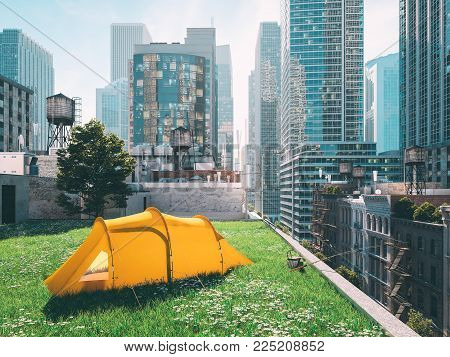 3d rendering. wanderlust in a big city. camping concept.