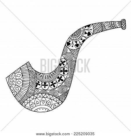 Zentangle smoking pipe. Zen tangle brier. Vector coloring book briar
