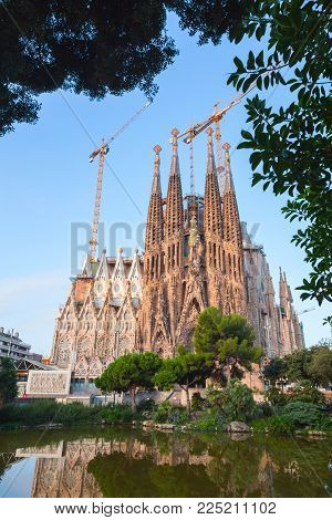 Barcelona, Spain - August 26, 2014: Cathedral La Sagrada Familia designed by Antoni Gaudi which is being build since 1882 and still is under construction