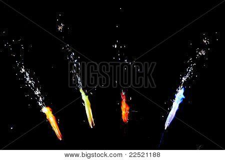 Flame fireworks on black background