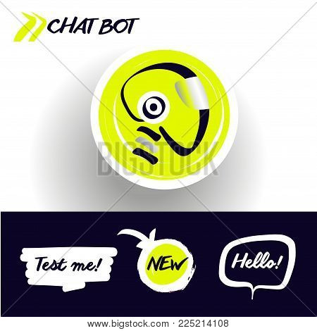 Concept of facial avatar chatbot. Sketch head robot. Sign intelligence technology. Voice service chat bot, virtual online help customer support. Graphic design trend modern logo.