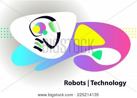 Graphic design trend modern logotype. Sketch image head of abstract humanoid machine. Vector illustration. AI logo. Concept of facial smart robot. Artificial intelligence technology.