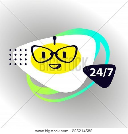 Vector illustration. Sign intelligence technology. Graphic design trend modern logo. Concept of facial avatar chatbot. Sketch head robot. Voice service chat bot, virtual online help customer support.
