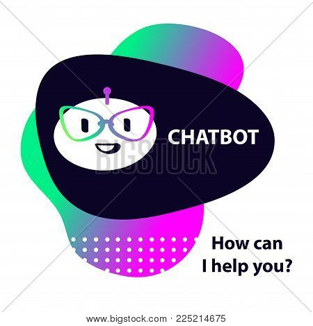 Sign intelligence technology. Graphic design trend modern logo. Voice service chat bot, virtual online help customer support. Concept of facial avatar chatbot. Sketch head robot. Vector illustration.