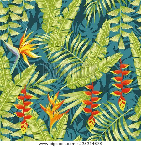 Hand drawn colorful exotic composition tropical flowers bird of paradise and banana leaves seamless pattern night jungle background