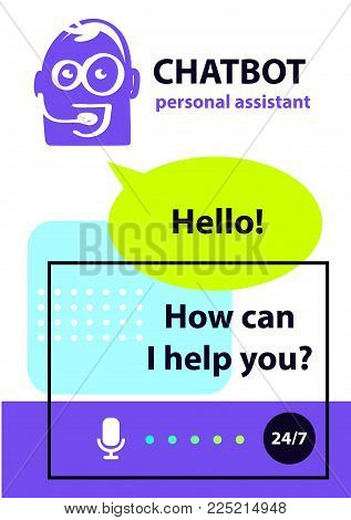 Concept personal assistant robot chatbot. Sketch head avatar. Logo intelligence technology.
