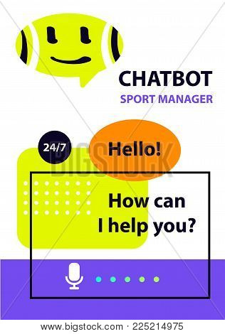 Sport manager. Concept robot chatbot. Sketch head avatar. Voice service chat bot, virtual online help customer support. Logo intelligence technology.