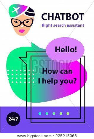 Flight search assistant. Voice service chatbot. Concept robot face. Sketch head avatar. Chat bot.