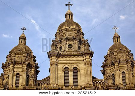 St. Joseph Church Wangfujing Steeples Cathedral Facade  Basilica Beijing China