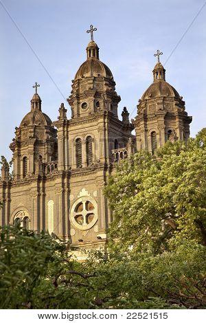 St. Joseph Church Wangfujing Cathedral Facade Green Trees Basilica Beijing China