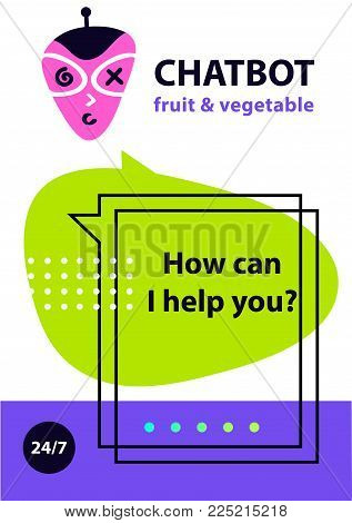 Sketch head avatar. Voice service chat bot, virtual online help customer support. Concept robot for fresh fruit and vegetable market.