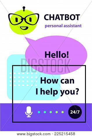 Personal assistant. Concept robot chatbot. Sketch head avatar. Voice service chat bot, virtual online help customer support. Logo intelligence technology.